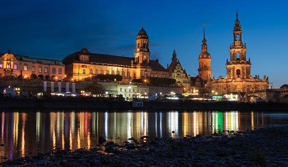 Dresden, Elbe, Blue Hour, Architecture, Travel, City