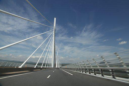 Transport, Road, Traffic, Highway, Sky, Viaduct, Millau