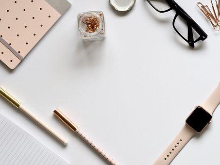 Desktop, Stationary, Pens, White Space, Rose Gold