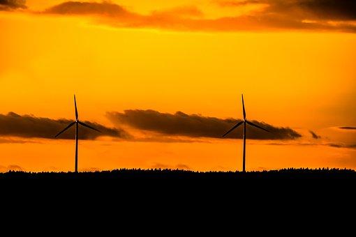 Windräder, Energy, Wind Power, Sunset, Setting Sun