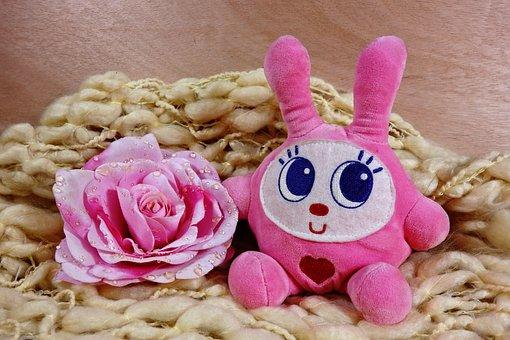 Animal, Stuffed Animal, Cuddly Toy, Rabbit, Pink Rabbit