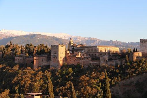 Architecture, Panorama, City, Travel, Alhambra, Granada
