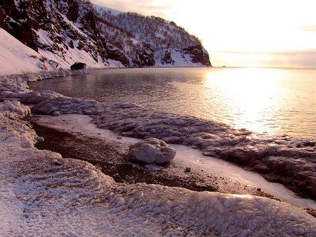 The Pacific Ocean, Beach, Coast, Sunset, Kamchatka