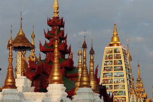 Temple, Buddha, Religion, Gold, Pagoda, Burma