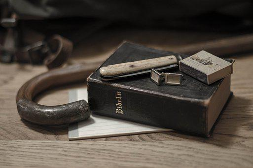 Still Life, Cane, Bible, Folding Knife, Matches