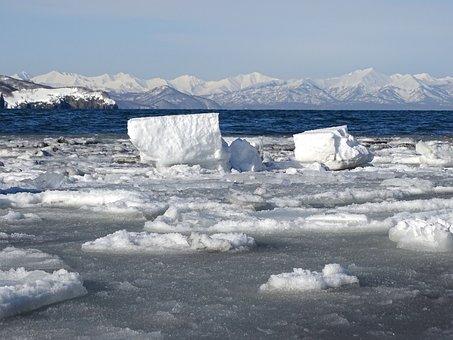 Ocean, Bay, Rocks, Beach, Sea, Winter, Ice