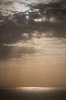 Portugal, Cabo Da Roca, Sea, Sun Rays, Heavenly, Ocean