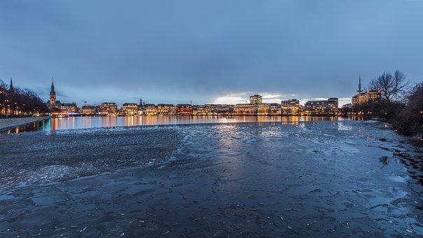 Waters, Panorama, City, Sea, Travel, Hamburg, Alster