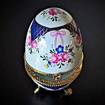 Egg, Porcelain Box, Faberge Egg, Imitation, Container