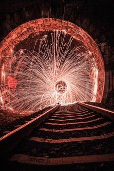 Train, Track, Railroad Tracks, Spark, The Effect Of