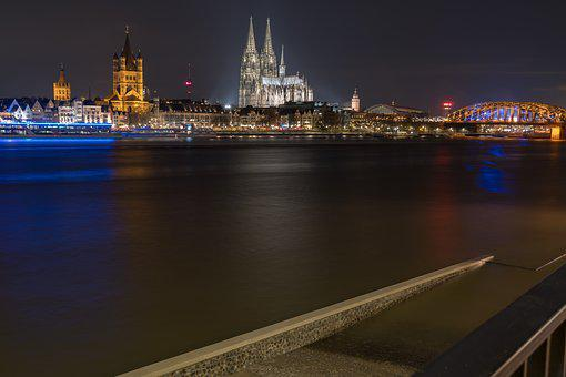 Waters, River, Travel, Panorama, Dusk, Rhine