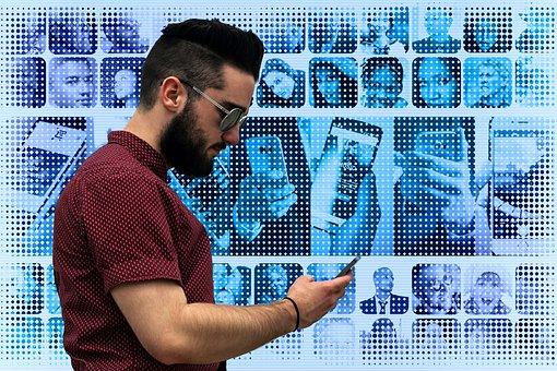 Personal, Network, Smartphone, Hand, Photomontage