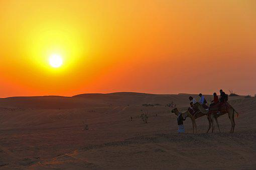 Sunset, Dawn, Desert, Outdoors, Sun, Sand, Travel