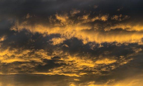 Sunset, Sky, Clouds, Orange, Grey, Cloudscape, Weather