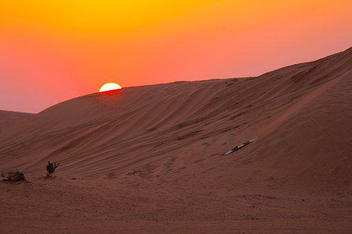 Sunset, Sun, Dawn, Desert, Outdoors, Sand, Travel