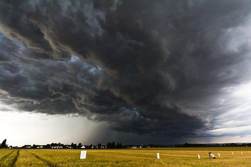 A Thunderstorm Cell, Stormy Sky, Field, Nature