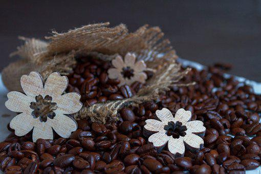 Coffee, Coffee Beans, Wood Flowers, Background, Pattern