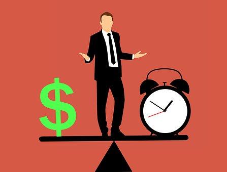 Business Man, Balancing, Time And Money, Idea