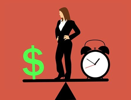 Business Woman, Balancing, Time And Money, Idea