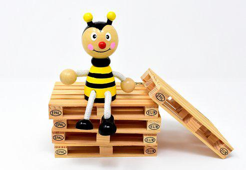 Bee, Figure, Wood, Toys, Euro Pallets, Stack, Pallets