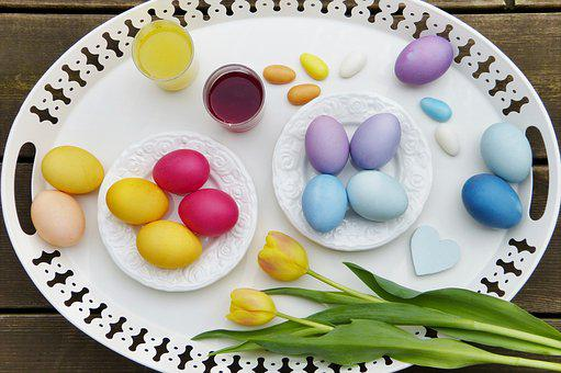 Easter Eggs, Dye Eggs, Natural Color, Bio, Tray
