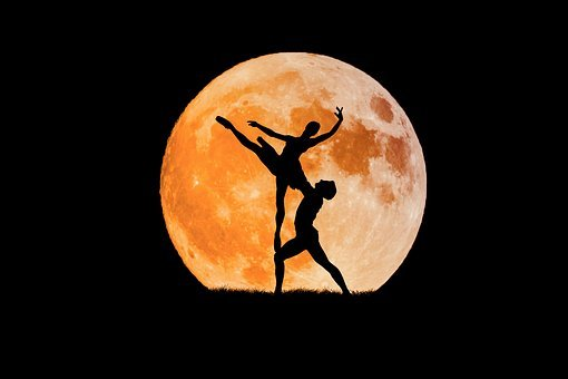 Dancing Couple, Full Moon, Ballerina, Boy, Ballet