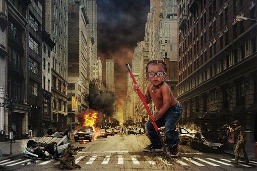 Ninja, Child, City, Destruction, New York, Risk