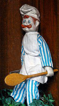 Cooking, Doll, Wooden Spoon, Figure, Nostalgic, Old