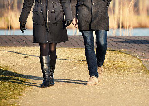 People, Man, Woman, Couple, Walking, Together, Leg