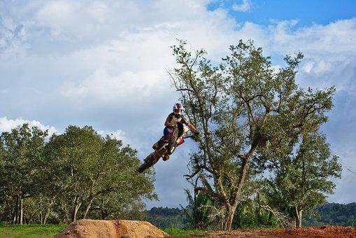 Whip, Jump, Dangerous, Dirtbike, Tree, Nature, Sky