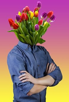 Man, Bouquet, Gift, Valentine's Day, Spring, Decorative