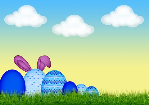 Easter, Egg, Grass, Clouds, Easter Bunny, Happy Easter