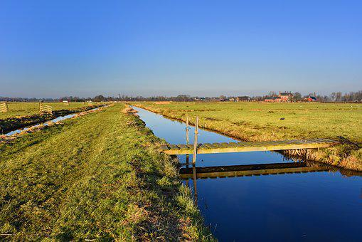 Waterway, Meadow, Footbridge, Polder, Dutch Landscape