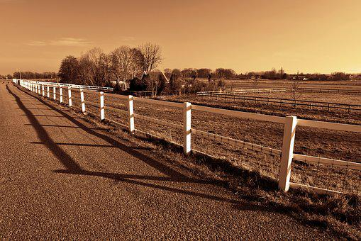 Fence, Road, Field, Farm House, Horizon, Landscape
