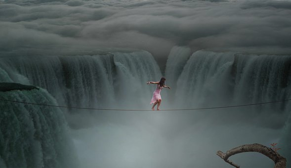 Waters, Movement, River, Action, Human, Rope, Waterfall