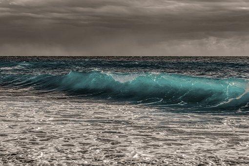 Sea, Ocean, Wave, Nature, Foam, Turquoise, Spray