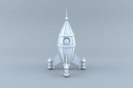 Rocket White And Black, 3d Modeling, 3d