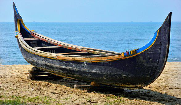 Wooden, Handmade, Traditional, Indian, Boat, Water, Sea