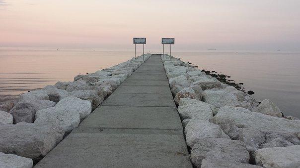 Sea, Waters, Sky, Nature, Breakwater, Venice Lido