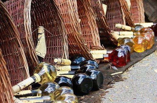 Bottles, Wicker Basket, Basket, Alcohol, Wicker
