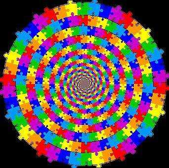 Jigsaw, Puzzle, Vortex, Whirlpool, Abstract, Art