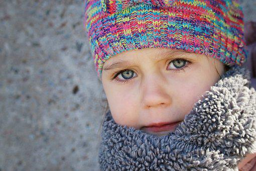 People, Winter, Child, Cold, Wool, Little, Blue Eyes
