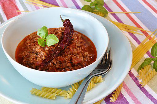 Spaghetti, Bolognese, Meat Sauce, Basil, Noodles, Pasta