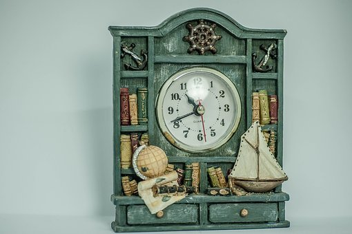 Old, Clock, Books, Antique, Globe, Sailing Vessel