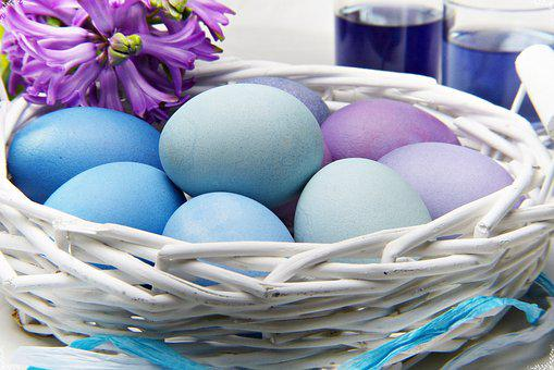 Easter, Egg, Basket, Traditionally, Nest, Color, Food