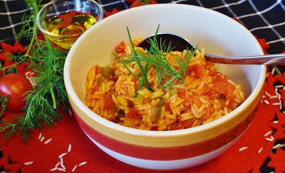 Rice, Rice Dish, Paprika, Onion, Food, Meal, Dinner