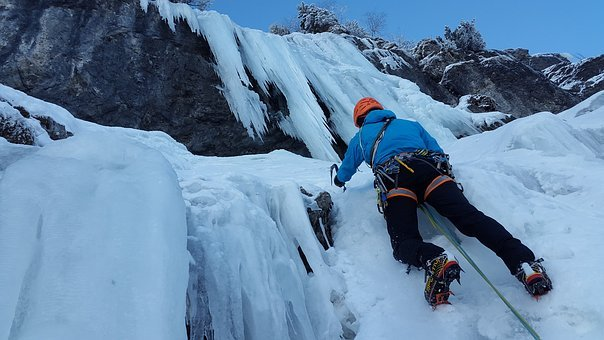 Ice Climbing, Mountaineer, Steep Ice, Waterfall, Frozen
