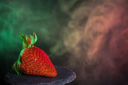 Strawberry, Fruit, Soft Fruit, Fog, Steam, Light, Sweet