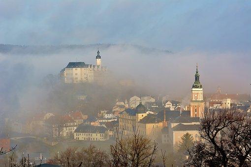 Architecture, Panorama, Fog, Greiz