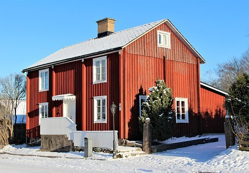 House, Architecture, Wood, Outdoor, Winter, Cottage